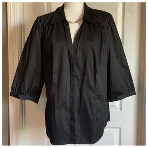 Black Button Down Shirt With Ribbon Belt